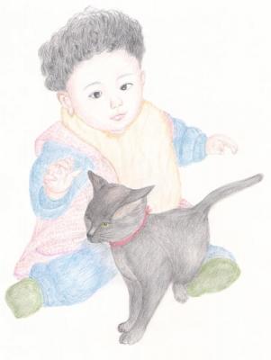 黒猫と色鉛筆画